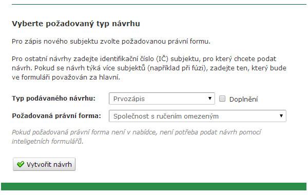formulář pro podání návrhu na zápis společnosti do obchodního rejstříku
